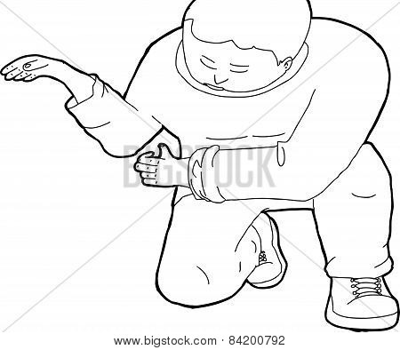 Outline Of Kneeling Man