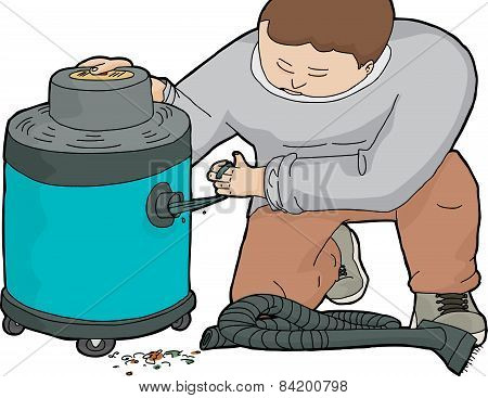 Man Unclogging Wet-dry Vacuum