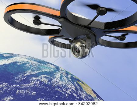 Small Drone - Elements Of This Image Furnished By Nasa