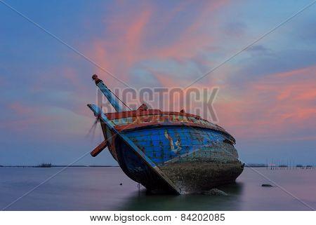 The wrecked ship on the beach, Thailand