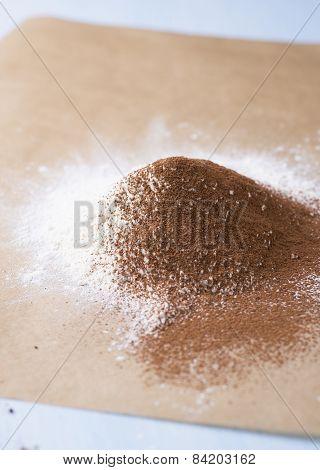 Heap Of Wheat Flour And Cocoa Powder