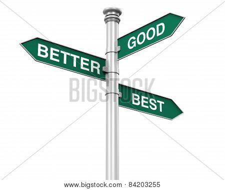 Direction Sign of Good, Better, and Best