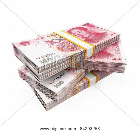 Stacks of Chinese Yuan Banknotes