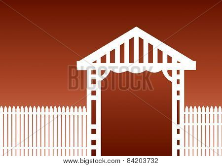 White Fence Brown Background