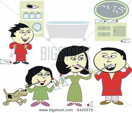 Asian family cleaning teeth cartoon