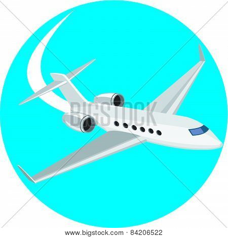 Commercial Light Passenger Airplane Circle Retro