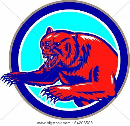 Grizzly Bear Angry Circle Retro