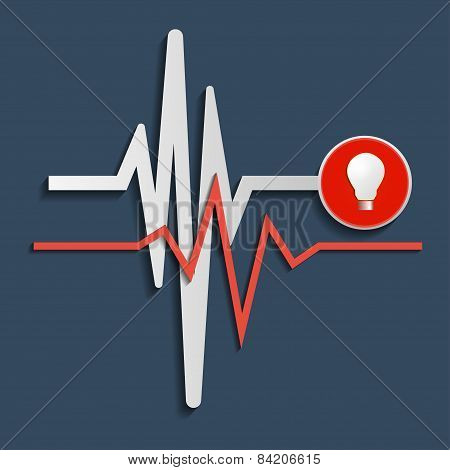 Heart Beat Line, Cardiogram. Vector