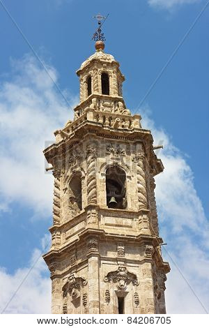 Bell tower of St Catalina church in Valencia Spain.