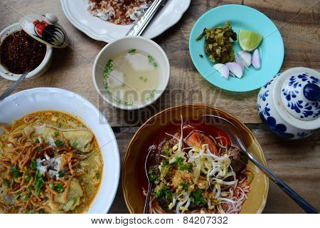 a set of Thai northern food