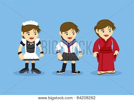 Girls Fancy Costume Vector Cartoon Illustration