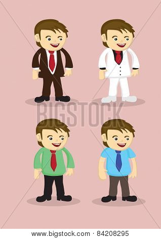 Cute Cartoon Businessman Vector Icon Set