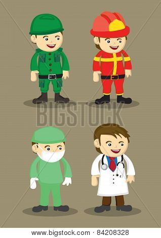 Soldier Firefighter Surgeon And Doctor Vector Illustration