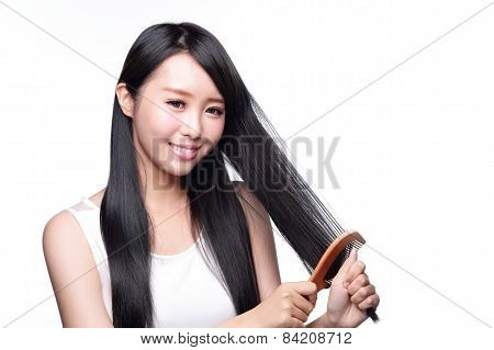 Young Woman Brush Wonderful Hair