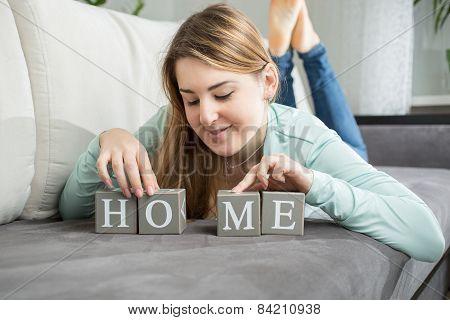 Cute Woman Making Word