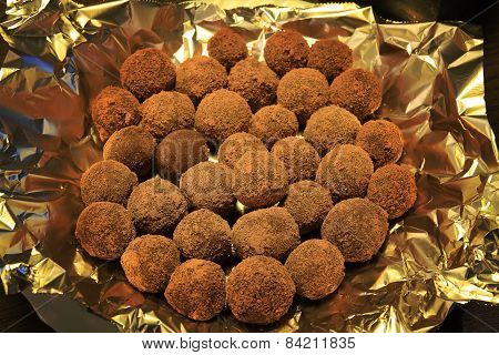 Homemade chocolate truffles on a plate