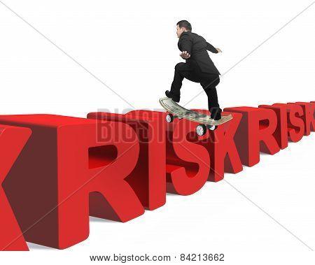 Businessman Skating On Money Skateboard Across Red Risk 3D Word