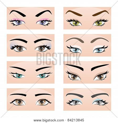 Set Of Female Eyes And Eyebrows. Vector Illustration, Eps10