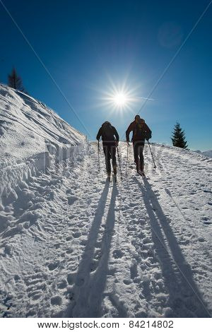 Couple Of Ski Mountaineering At The Sun