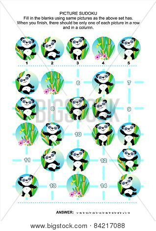 Picture sudoku puzzle, panda bears themed
