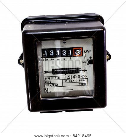 Isolated Counter Of Electrical Energy Consumption With The Number Thirteen In Display