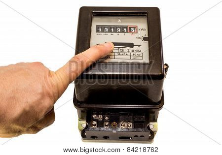 Finger Indicating The Number On The Meter Counter