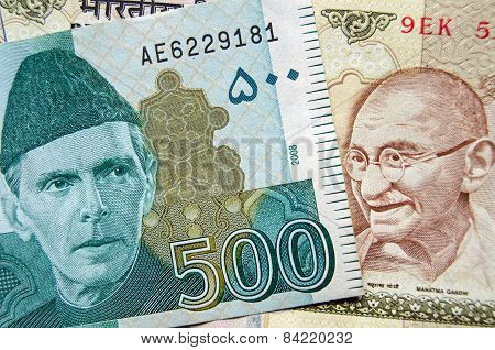Pakistan and Indian Rupee banknotes