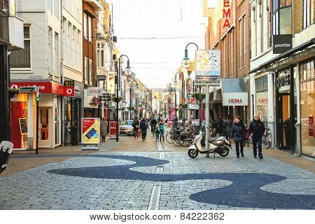People  In The Dutch Town Gorinchem.