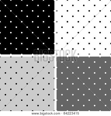 Seamless black, white and grey vector pattern or background set with polka dots