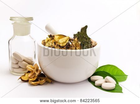 White mortar and pestle.