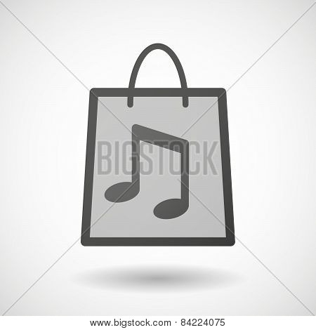 Shopping Bag Icon With A Musical Note