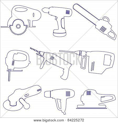 Various Power Tools Outline Icons Set Eps10
