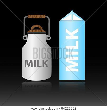 Dairy Product Milk In Two Types Of Bottles Eps10