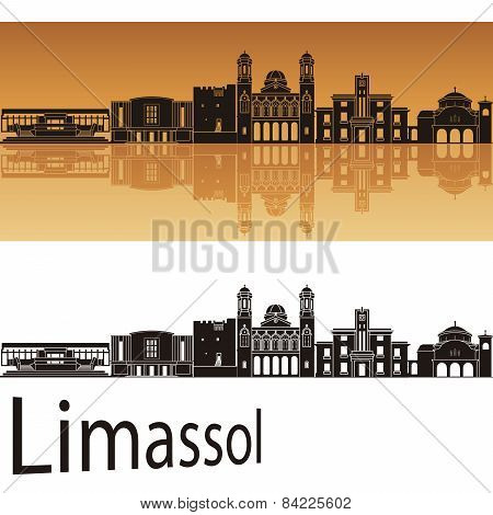 Limassol Skyline In Orange Background