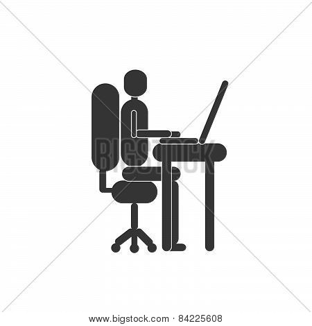 One person silhouette working with the computer