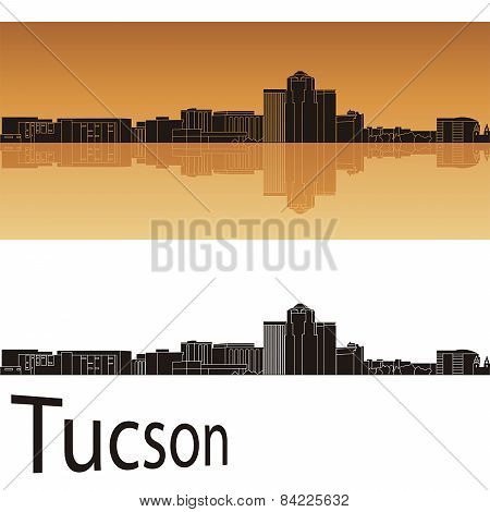 Tucson Skyline In Orange Background