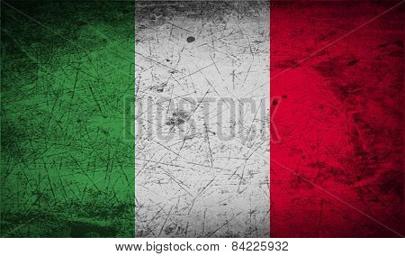 Flag Of Italy With Old Texture. Vector