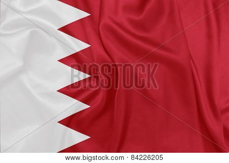 Bahrain - Waving national flag on silk texture