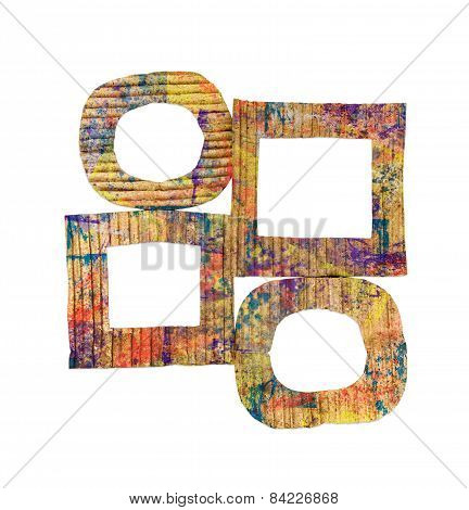 Group Of Blank Grunge Colorful Painted Cardboard Frames Isolated On White Background