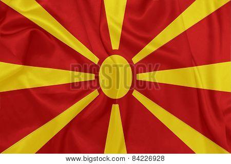 Macedonia - Waving national flag on silk texture