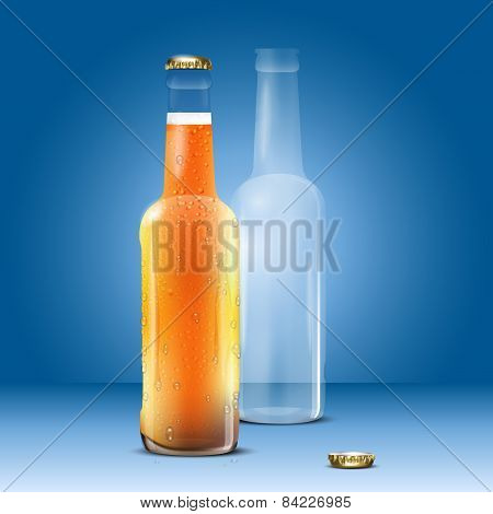 Full And Empty Beer Bottle