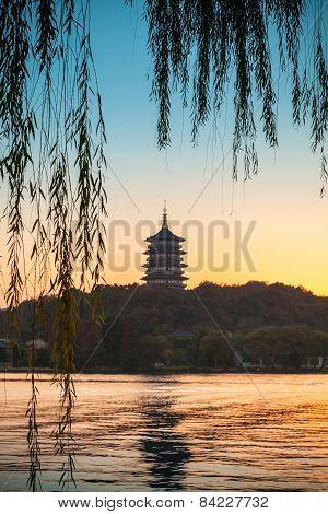 Chinese Pagoda On The Coast Of West Lake