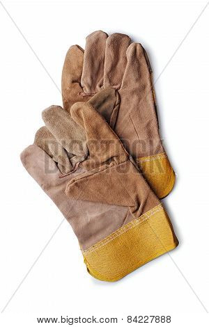 Pair Of Leather Gardening Gloves