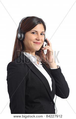 Happy Operator Posing With Headphones