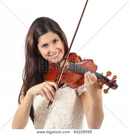 Woman Learning To Play Violin