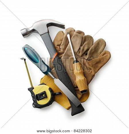 Leather Gloves With Carpentry Tools