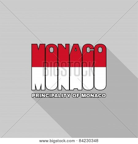 Monaco Flag Typography, T-shirt Graphics