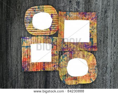 Group Of Blank Colorful Painted Cardboard Frames On Grunge Background