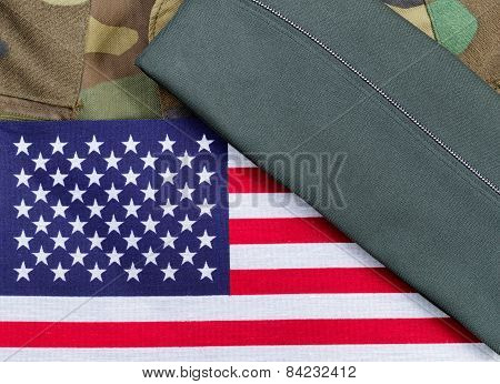 American Military Uniform With Flag And Cap