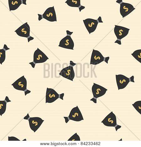 Money bags seamless pattern with dollar sign. Vector illustration
